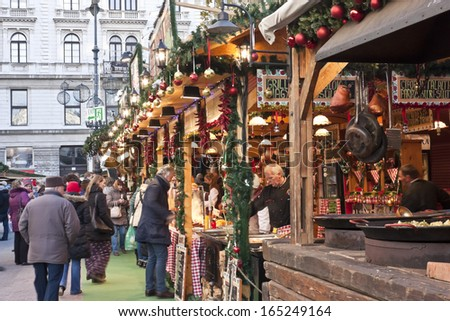 BUDAPEST - DECEMBER 27. : Christmas fair stands on the Vorosmarty square on December 27. , 2013. in Budapest.