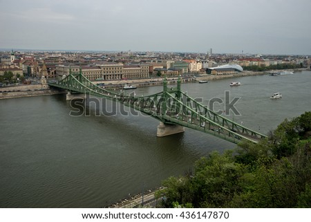 Budapest, Hungary - April 10, 2016: Freedom Bridge in Budapest  Hungary over Danube river