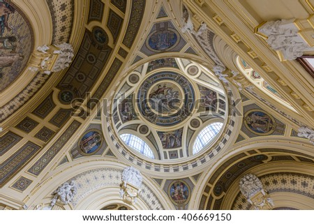 Budapest, Hungary. April 16, 2016: Interior of Szechenyi Baths in Budapest in Hungary.. The biggest bath complex in Europe. - stock photo