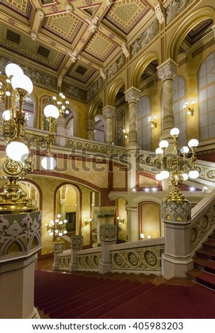 BUDAPEST, HUNGARY- APRIL 14 2016: interior of the Vigado Concert Hall, Budapest's second largest concert hall, located on the Eastern bank of the Danube.