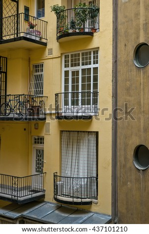 Budapest, Hungary - April 10, 2016: Old traditional architecture with modern elements in Budapest Hungary