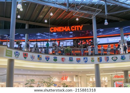 BUDAPEST, HUNGARY - AUG 27, 2014: Cinema City in the West End City Center, a shopping centre in Budapest, Hungary. it is the former largest mall in Central Europe and it was opened on Nov 12, 1999