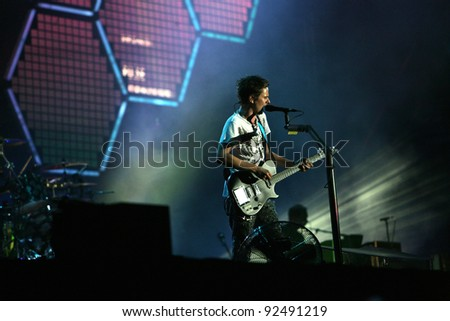 BUDAPEST, HUNGARY - AUG 15: The British rock band Muse play in concert at the annual Sziget music festival on Sunday, August 15, 2010 in Budapest, Hungary