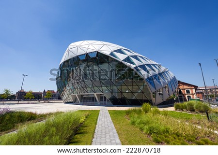 Budapest, Hungary - August 1, 2013: CET Budapest modern whale shaped building on the bank of Danube river, Hungary - stock photo
