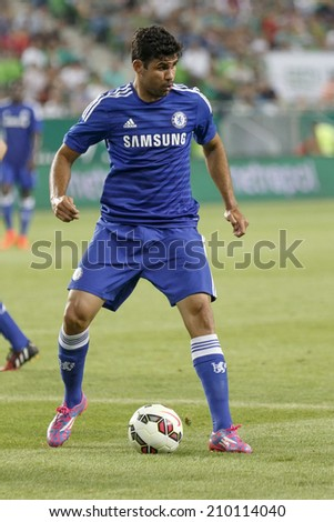 BUDAPEST, HUNGARY - AUGUST 10, 2014: Diego Costa of Chelsea during Ferencvaros vs. Chelsea stadium opening football match at Groupama Arena - stock photo