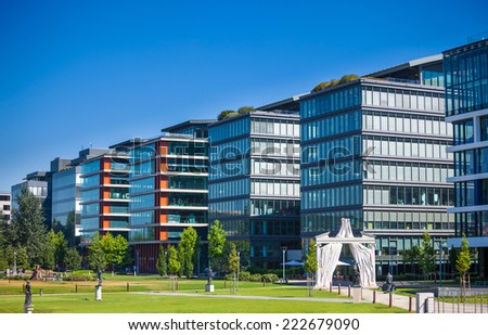 Budapest, Hungary - August 1, 2013: Modern office buildings in Budapest, Hungary - stock photo
