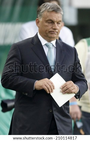 BUDAPEST, HUNGARY - AUGUST 10, 2014: Prime Minister, Viktor Orban during Ferencvaros vs. Chelsea stadium opening football match at Groupama Arena