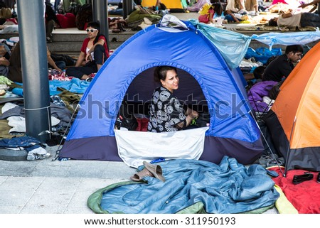 BUDAPEST, HUNGARY - AUGUST 31: Refugees and immigrants stranded at the eastern Train Station on August 31, 2015 in Budapest, Hungary.