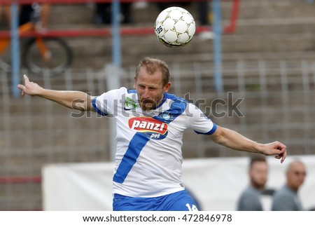 BUDAPEST, HUNGARY - AUGUST 21, 2016: Sandor Torghelle of MTK Budapest heads the ball during the Hungarian OTP Bank Liga match between Ujpest FC and MTK Budapest at Illovszky Stadium.