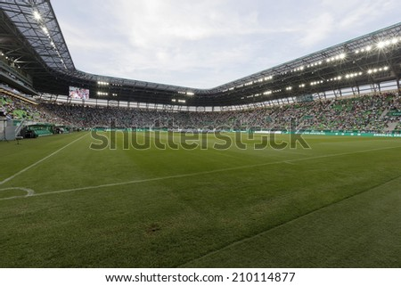 BUDAPEST, HUNGARY - AUGUST 10, 2014: The new stadiom of FTC during Ferencvaros vs. Chelsea stadium opening football match at Groupama Arena