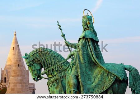 Budapest. Hungary. Bud's fortress. Monument to Saint Ishtvan. - stock photo