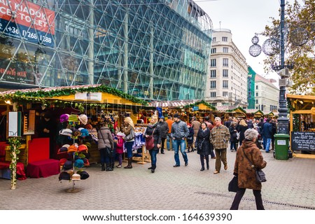 BUDAPEST, HUNGARY - DEC 03: Budapest Christmas Fair on December 03, 2012 in Budapest, Hungary. Budapest Christmas Fair is one of the most popular Christmas markets in Europe. - stock photo