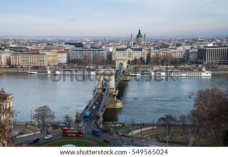 BUDAPEST, HUNGARY - DECEMBER 10, 2016: Aerial view of Chain Bridge on Danube River and St. Stephen's Basilica. Budapest, Hungary