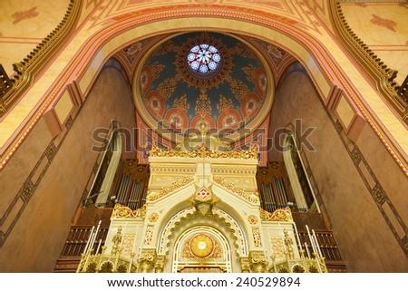 BUDAPEST, HUNGARY - DECEMBER 1, 2014: Interior of the Great Synagogue in Budapest, Hungary as seen on December 1, 2014. It is the second largest synagogue in the world. - stock photo