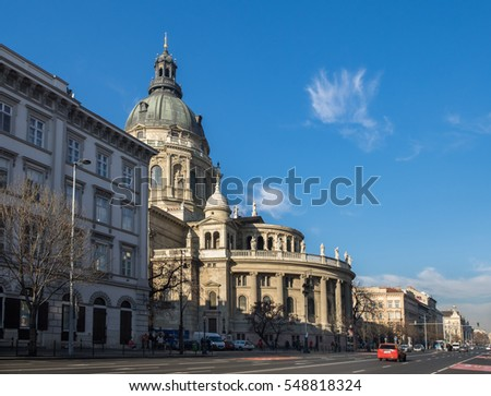 BUDAPEST, HUNGARY - DECEMBER 11, 2016: Large panoramic view of St. Stephen's Basilica in Budapest, Hungary