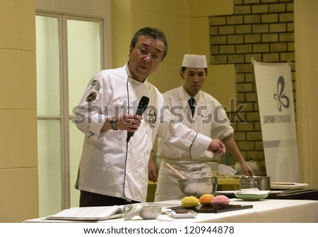 BUDAPEST, HUNGARY - DECEMBER 4: Morimoto Setsuo, executive chef of Bandai Silver Hotel demonstrates the kitchen of Niigata prefecture on the seminar of Japan Foundation on 12/4, 2012 in Budapest.