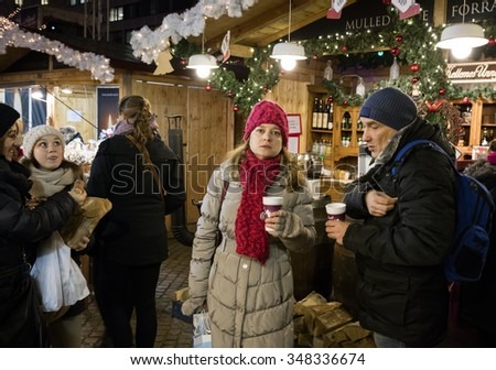 BUDAPEST, HUNGARY - DECEMBER 7: The annual Christmas Fair on Vorosmarty square on 7 December, 2015 in Budapest, Hungary. The fair is the second largest in Central Europe.