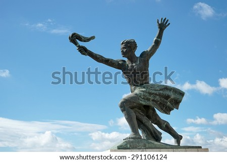 BUDAPEST, HUNGARY/EUROPE - SEPTEMBER 21 : Part of the Liberty or Freedom Statue in Budapest on September 21, 2014