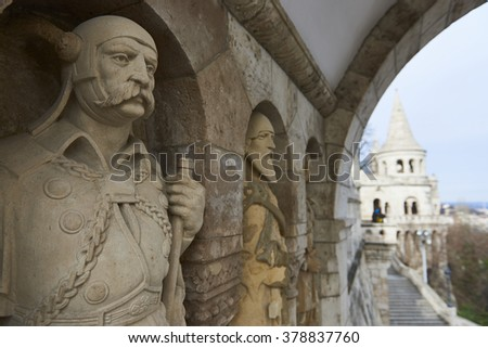 BUDAPEST, HUNGARY - FEBRUARY 02: Detail of stone soldier statue in one of the arches at Fisherman's Bastion, in the Old Town district. February 02, 2016 in Budapest. - stock photo