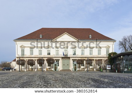 BUDAPEST, HUNGARY - FEBRUARY 02: Facade of Sandor Palace. February 02, 2016 in Budapest.