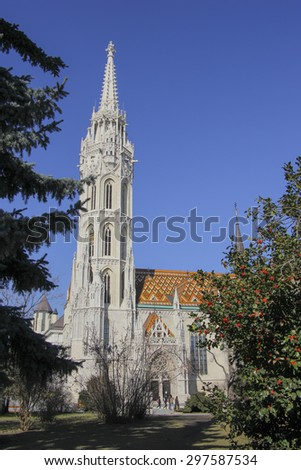 BUDAPEST, HUNGARY - 16 February 2015 : The Matthias Church, one of the famous attractions in Hungary. It is located in the area of Hungary Castle which also near Fisherman's Bastion.