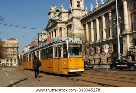 BUDAPEST, HUNGARY - FEBRUARY 20, 2012: Tram is passing by the Ministry of Agriculture building in Budapest, Hungary, February 20, 2012. - stock photo