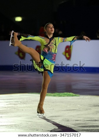 BUDAPEST, HUNGARY - JANUARY 19, 2014: Adelina SOTNIKOVA of Russia performs during the exhibition gala at ISU European Figure Skating Championship in Syma Hall Arena.