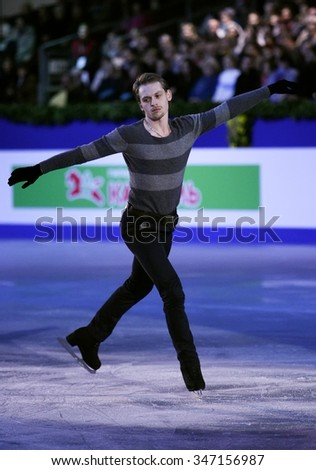 BUDAPEST, HUNGARY - JANUARY 19, 2014: Sergei VORONOV performs during the exhibition gala at ISU European Figure Skating Championship in Syma Hall Arena.