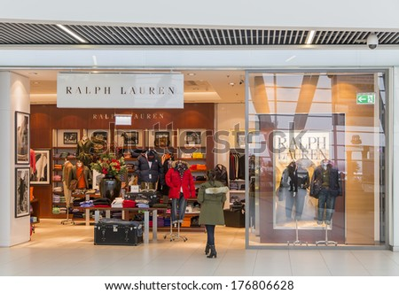 shop in Budapest. Ralph Lauren is worldwide clothing company founded