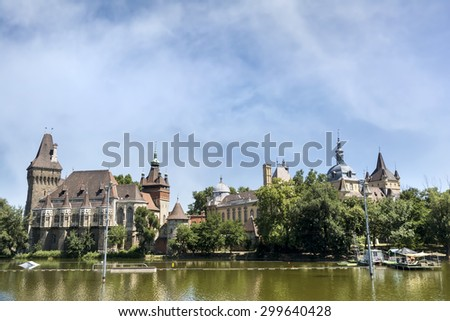 BUDAPEST, HUNGARY, JULY 11,2015: Exterior shot of Vajdahunyad Castle, a castle in the City Park of Budapest, Hungary. It was built in 1896. - stock photo