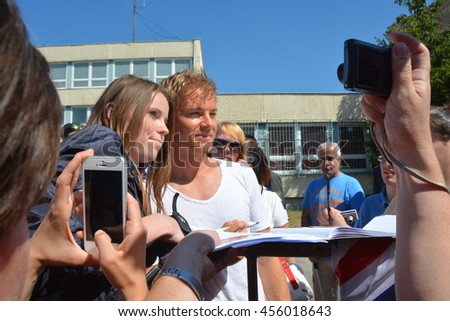 BUDAPEST, HUNGARY-  JULY 21: F1 driver Nico Rosberg is among his fans and giving autographs on July 21, 2016 in Budapest.