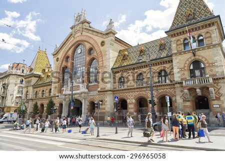 BUDAPEST, HUNGARY, JULY 10,2015: Front view of Great Market Hall of Budapest,  the largest and oldest indoor market in Budapest, Hungary, located at the end of  famous shopping street Vaci utca. - stock photo