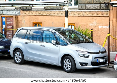 BUDAPEST, HUNGARY - JULY 23, 2014: Motor car Citroen Grand C4 Picasso in the city street.