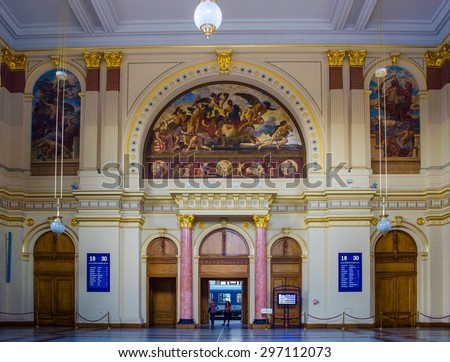 BUDAPEST, HUNGARY, JULY 29, 2014: People are moving through decorated entrance hall of budapest keleti train station.