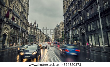 BUDAPEST, HUNGARY, JULY 8, 2015: Rainy day on Budapest, traffic flowing on the street.