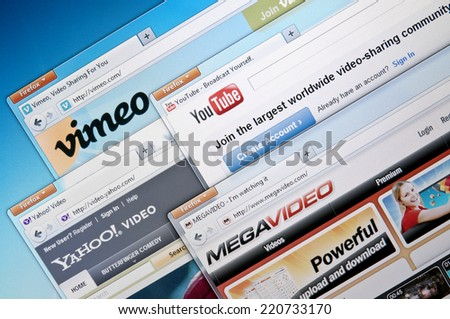 Budapest, Hungary - July 28, 2011: Selection of popular Video-sharing websites. Including: Vimeo, YouTube, Yahoo!Video and MegaVideo.  - stock photo