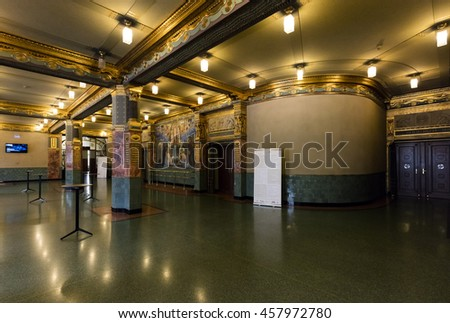 BUDAPEST, HUNGARY - July 24, 2016 : The green entrance hall of The Liszt Academy of Music. It is a concert hall and music conservatory in Budapest, Hungary, founded on November 14, 1875.