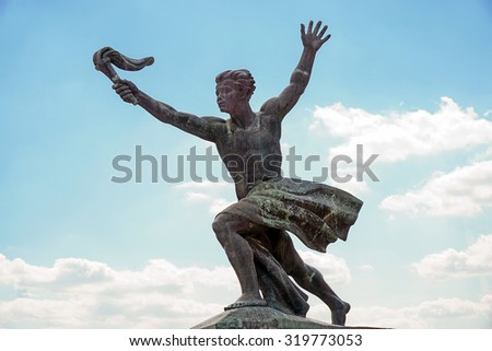 BUDAPEST, HUNGARY, JULY 10,2015: The Liberty Statue or Freedom Statue on the Gellert Hill in Budapest, Hungary. It commemorates those who sacrificed their lives for the independence of Hungary.