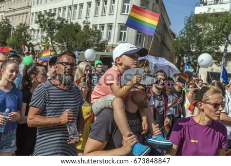 BUDAPEST, HUNGARY - JULY 8., 2017: Unidentified people take part in the 22nd Budapest Gay Pride parade to support the LGBT rights.