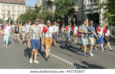 BUDAPEST, HUNGARY - JULY 2., 2016: Unidentified people take part of the 21. Budapest Gay Pride parade to support the LGBT rights.