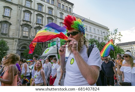 BUDAPEST, HUNGARY - JULY 8. 2017 : Unidentified people take part of the 22. Budapest Gay Pride parade to support the LGBT rights.