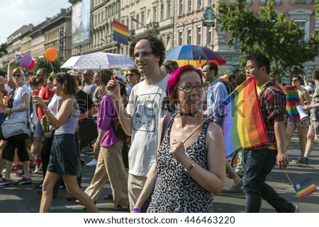 BUDAPEST, HUNGARY - JULY 2., 2016: Unidentified people took part in the 21. Budapest Gay Pride parade on the Andrassy street to support the LGBT rights.