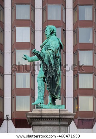 BUDAPEST, HUNGARY - JUNE 13, 2016: Bronze statue of Josef Eotvos, Hungarian writer and statesman, installed at 1879 in Budapest, Hungary, on the square which bears his name.