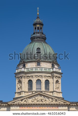 BUDAPEST, HUNGARY - JUNE 14, 2016: Dome of St. Stephen Basilica in Budapest, Hungary.