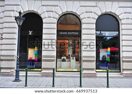 BUDAPEST, HUNGARY - JUNE 4: Facade of Louis Vuitton flagship store in the street of Budapest on June 4, 2016.