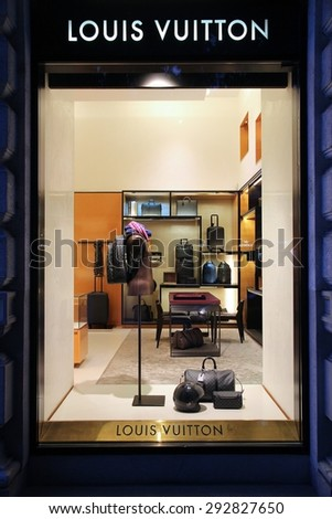 BUDAPEST, HUNGARY - JUNE 19, 2014: Louis Vuitton fashion store in Budapest. Louis Vouitton was most powerful luxury brand in world with $19.4bn USD value (Forbes 2008). - stock photo