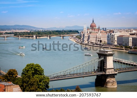 BUDAPEST, HUNGARY - JUNE 23 2014:View from above of the parliament building on the Danube river bank in Budapest, Hungary