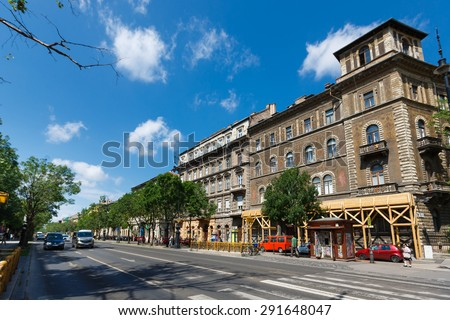 Budapest, Hungary, June 15 2015: View of Andrassy Avenue  in the city at summer time
