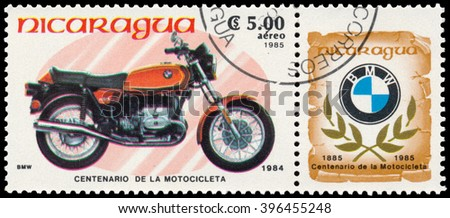 BUDAPEST, HUNGARY - 18 march 2016:  a stamp printed in Nicaragua shows image of a vintage motorcycle, BMW1984, circa 1985