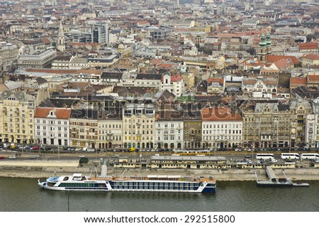 BUDAPEST, HUNGARY - MARCH 25: Budapest cityscape on March 25, 2015 in Budapest, Hungary. Budapest is the capital and largest city in Hungary with a population of 1.73 million. - stock photo